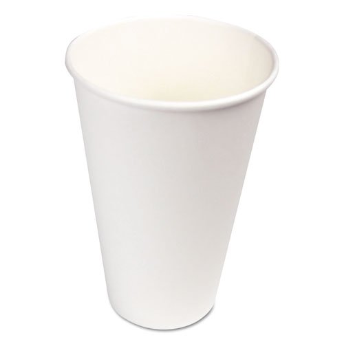 Paper Hot Cups, 16 oz, White, 20 Cups/Sleeve, 50 Sleeves/Carton. Picture 1