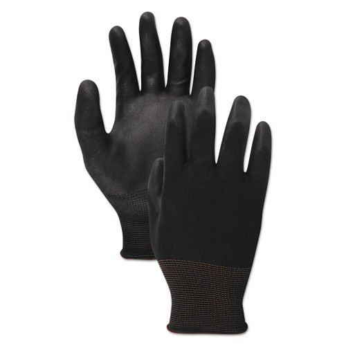 PU Palm Coated Gloves, Black, Size 8 (Medium), 1 Dozen. Picture 1