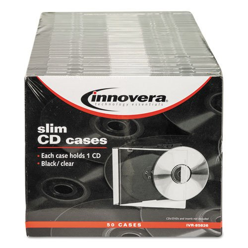 CD/DVD Slim Jewel Cases, Clear/Black, 50/Pack. Picture 5