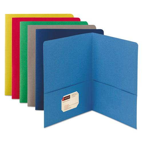 Two-Pocket Folder, Textured Paper, Assorted, 25/Box. Picture 1