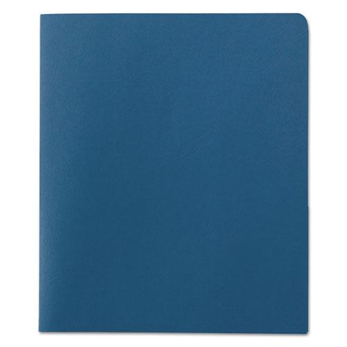 Two-Pocket Folder, Embossed Leather Grain Paper, Blue, 25/Box. Picture 2