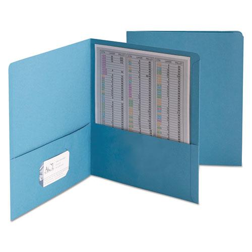 Two-Pocket Folder, Embossed Leather Grain Paper, Blue, 25/Box. Picture 1