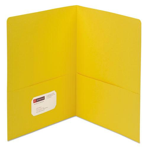 Two-Pocket Folder, Textured Paper, Yellow, 25/Box. Picture 1