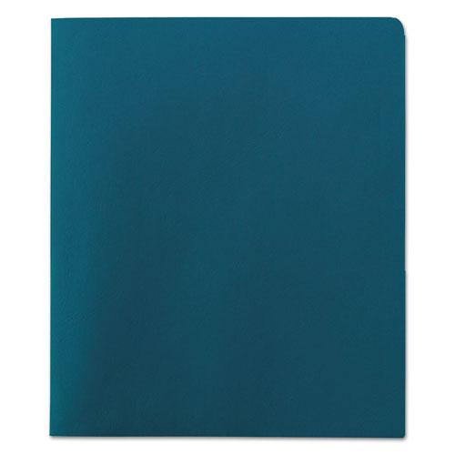 Two-Pocket Folder, Textured Paper, Teal, 25/Box. Picture 2