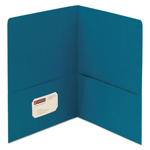 Two-Pocket Folder, Textured Paper, Teal, 25/Box. Picture 1