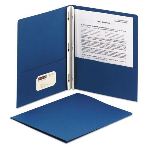 "2-Pocket Folder w/Tang Fastener, Letter, 1/2"" Cap, Dark Blue, 25/Box. Picture 3"