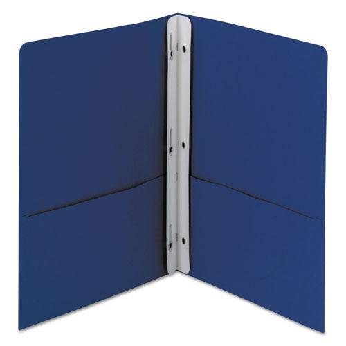 "2-Pocket Folder w/Tang Fastener, Letter, 1/2"" Cap, Dark Blue, 25/Box. Picture 4"