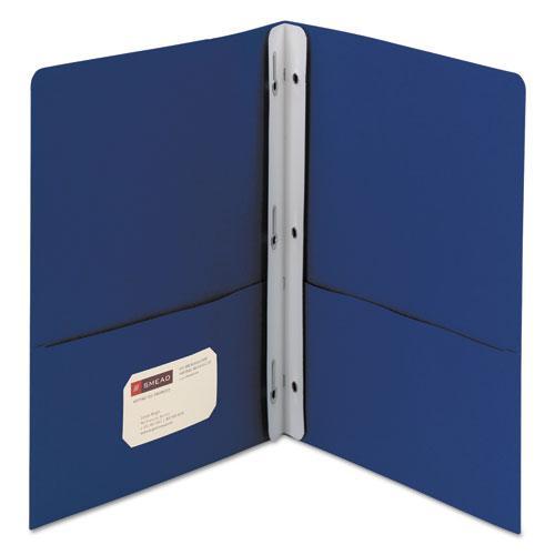 "2-Pocket Folder w/Tang Fastener, Letter, 1/2"" Cap, Dark Blue, 25/Box. Picture 1"