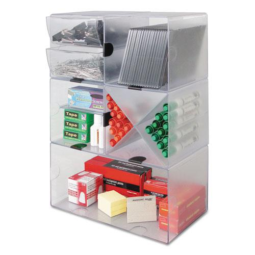 Stackable Cube Organizer, 4 Drawers, 6 x 7 1/8 x 6, Clear. Picture 13