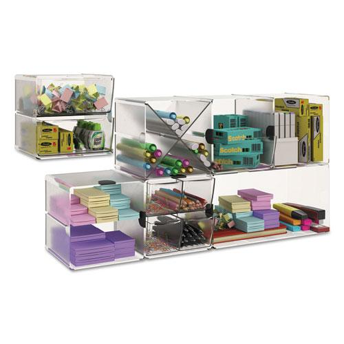 Stackable Cube Organizer, 4 Drawers, 6 x 7 1/8 x 6, Clear. Picture 12