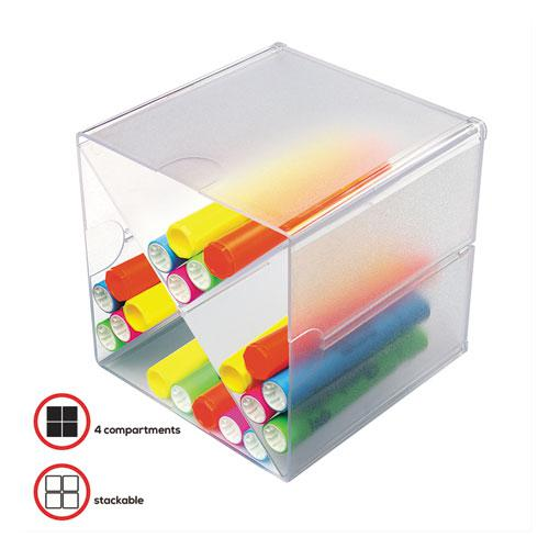Stackable Cube Organizer, X Divider, 6 x 7 1/8 x 6, Clear. Picture 3