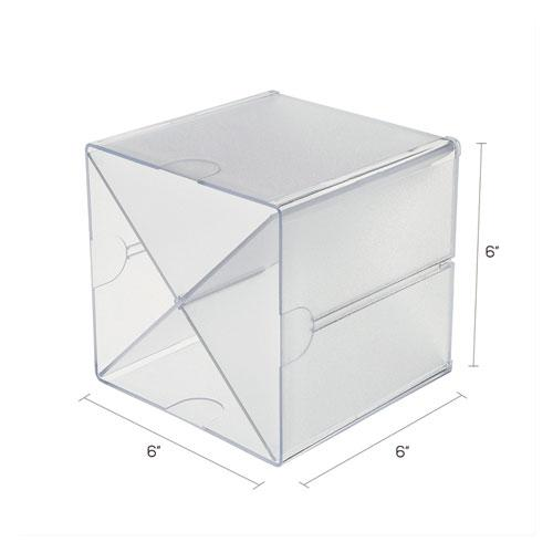 Stackable Cube Organizer, X Divider, 6 x 7 1/8 x 6, Clear. Picture 4
