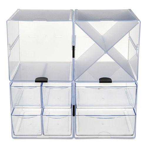 Stackable Cube Organizer, X Divider, 6 x 7 1/8 x 6, Clear. Picture 11