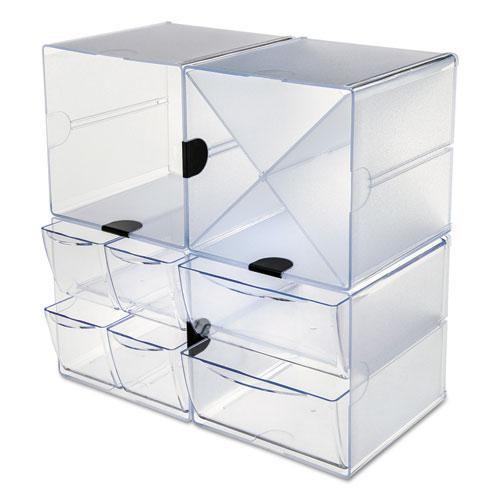 Stackable Cube Organizer, 4 Drawers, 6 x 7 1/8 x 6, Clear. Picture 10