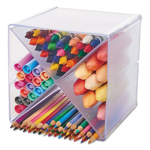 Stackable Cube Organizer, X Divider, 6 x 7 1/8 x 6, Clear. Picture 1