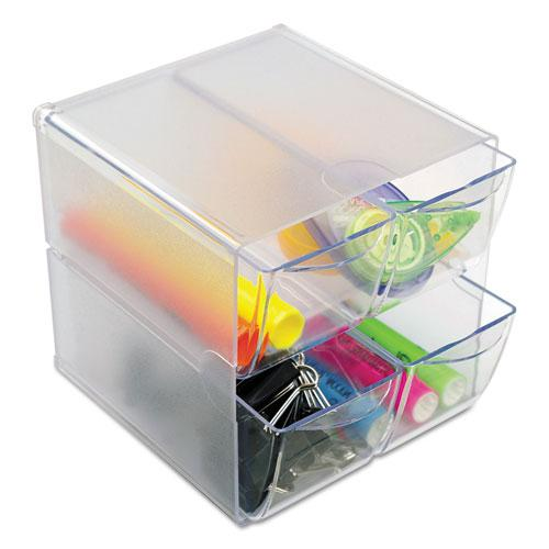 Stackable Cube Organizer, 4 Drawers, 6 x 7 1/8 x 6, Clear. Picture 2