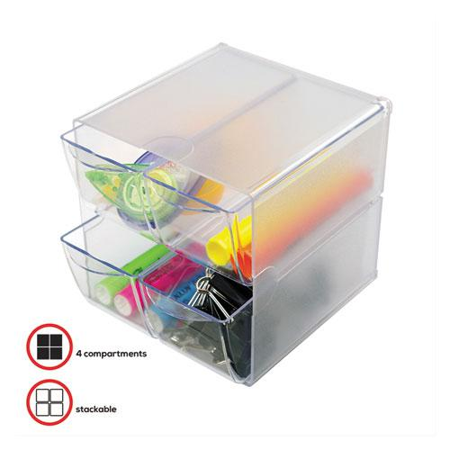 Stackable Cube Organizer, 4 Drawers, 6 x 7 1/8 x 6, Clear. Picture 3