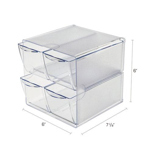 Stackable Cube Organizer, 4 Drawers, 6 x 7 1/8 x 6, Clear. Picture 4