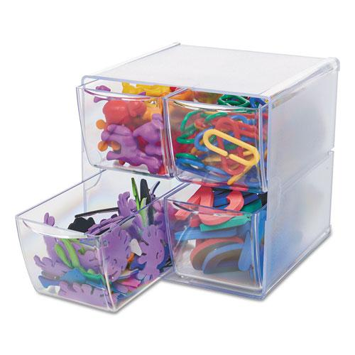 Stackable Cube Organizer, 4 Drawers, 6 x 7 1/8 x 6, Clear. Picture 5
