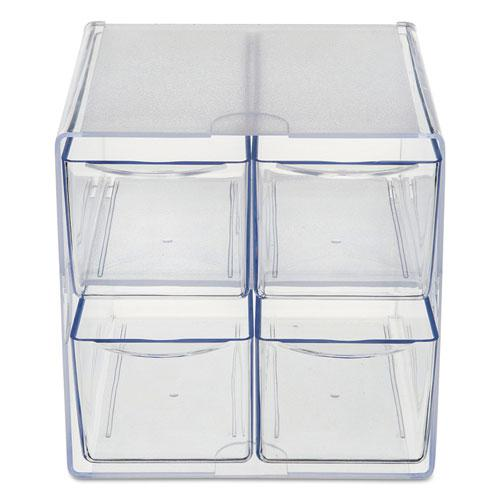 Stackable Cube Organizer, 4 Drawers, 6 x 7 1/8 x 6, Clear. Picture 7