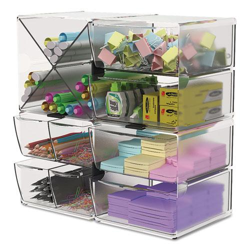 Stackable Cube Organizer, 4 Drawers, 6 x 7 1/8 x 6, Clear. Picture 11