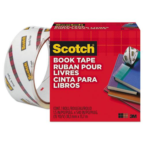 """Book Tape, 3"""" Core, 1.5"""" x 15 yds, Clear. Picture 1"""