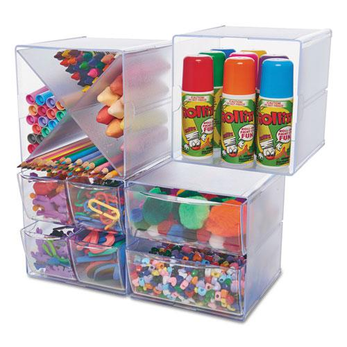 Stackable Cube Organizer, 6 x 6 x 6, Clear. Picture 14