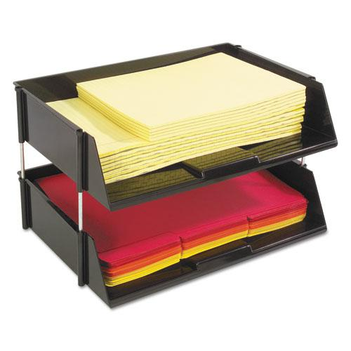 """Industrial Tray Side-Load Stacking Tray Set, 2 Sections, Letter to Legal Size Files, 16.38"""" x 11.13"""" x 3.5"""", Black, 2/Pack. Picture 4"""