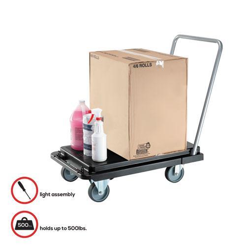 Heavy-Duty Platform Cart, 500 lb Capacity, 21 x 32.5 x 37.5, Black. Picture 3
