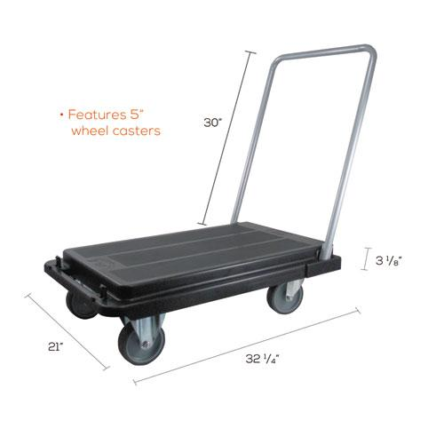 Heavy-Duty Platform Cart, 500 lb Capacity, 21 x 32.5 x 37.5, Black. Picture 4