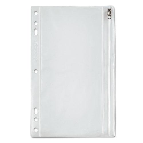 Zippered Ring Binder Pocket, 9 1/2 x 6, Clear. Picture 1
