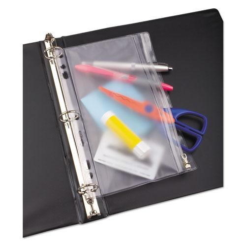Zippered Ring Binder Pocket, 9 1/2 x 6, Clear. Picture 2