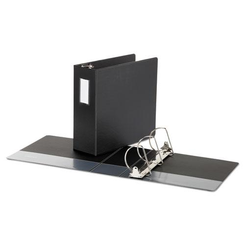 """Deluxe Non-View D-Ring Binder with Label Holder, 3 Rings, 4"""" Capacity, 11 x 8.5, Black. Picture 2"""
