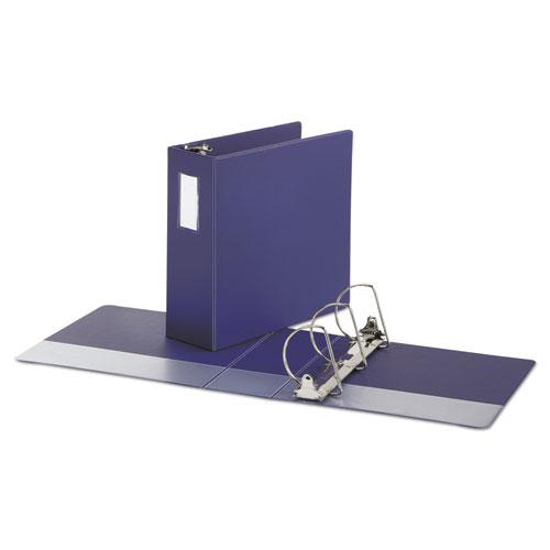 """Deluxe Non-View D-Ring Binder with Label Holder, 3 Rings, 4"""" Capacity, 11 x 8.5, Navy Blue. Picture 2"""