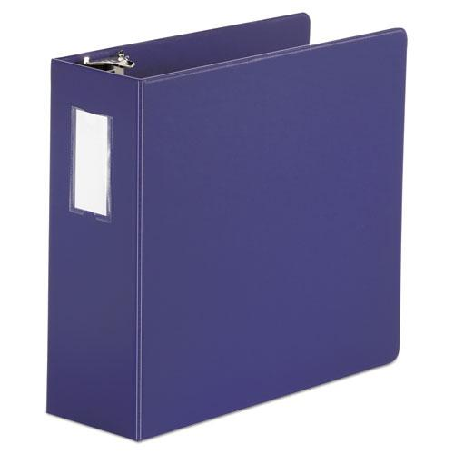 """Deluxe Non-View D-Ring Binder with Label Holder, 3 Rings, 4"""" Capacity, 11 x 8.5, Navy Blue. Picture 1"""
