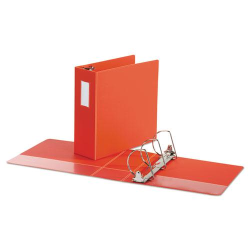 """Deluxe Non-View D-Ring Binder with Label Holder, 3 Rings, 4"""" Capacity, 11 x 8.5, Red. Picture 2"""