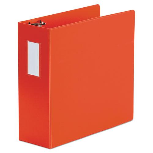 """Deluxe Non-View D-Ring Binder with Label Holder, 3 Rings, 4"""" Capacity, 11 x 8.5, Red. Picture 1"""