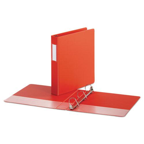 """Deluxe Non-View D-Ring Binder with Label Holder, 3 Rings, 1.5"""" Capacity, 11 x 8.5, Red. Picture 2"""