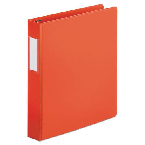"""Deluxe Non-View D-Ring Binder with Label Holder, 3 Rings, 1.5"""" Capacity, 11 x 8.5, Red. Picture 1"""