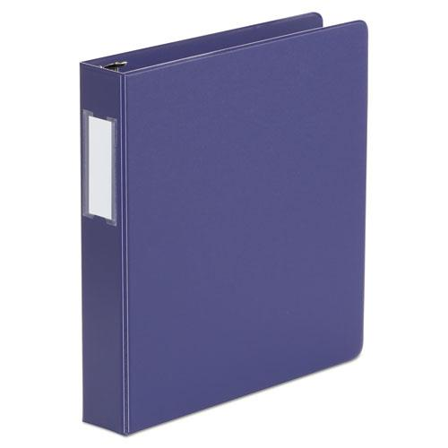 """Deluxe Non-View D-Ring Binder with Label Holder, 3 Rings, 1.5"""" Capacity, 11 x 8.5, Navy Blue. Picture 1"""