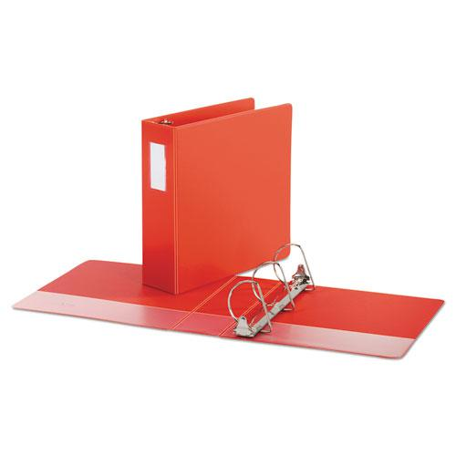 """Deluxe Non-View D-Ring Binder with Label Holder, 3 Rings, 3"""" Capacity, 11 x 8.5, Red. Picture 2"""