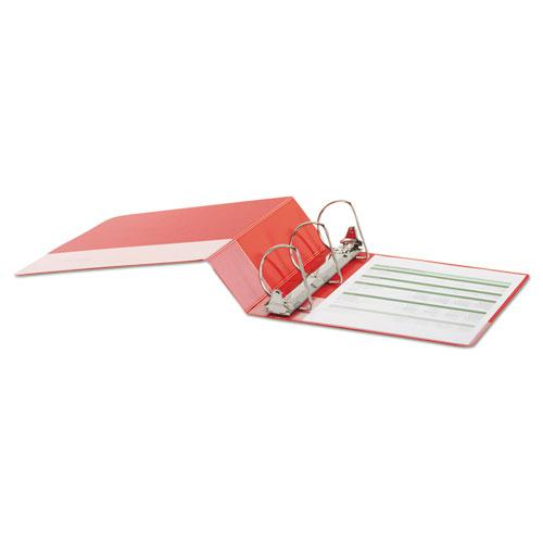 """Deluxe Non-View D-Ring Binder with Label Holder, 3 Rings, 3"""" Capacity, 11 x 8.5, Red. Picture 3"""