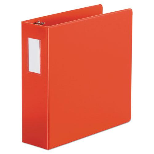 """Deluxe Non-View D-Ring Binder with Label Holder, 3 Rings, 3"""" Capacity, 11 x 8.5, Red. Picture 1"""