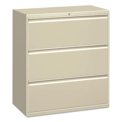 Three-Drawer Lateral File Cabinet, 30w x 18d x 39.5h, Putty. Picture 1