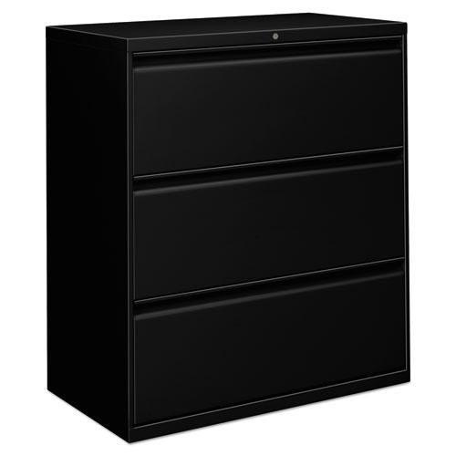Three-Drawer Lateral File Cabinet, 36w x 18d x 39.5h, Black. Picture 1