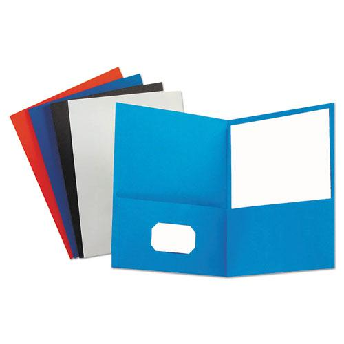 Two-Pocket Portfolio, Embossed Leather Grain Paper, Assorted Colors, 25/Box. Picture 1