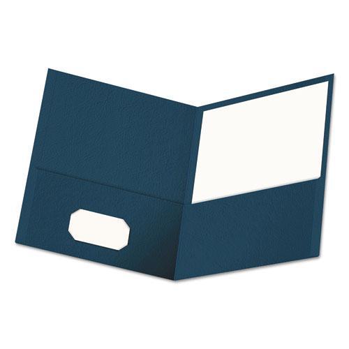 Two-Pocket Portfolio, Embossed Leather Grain Paper, Dark Blue, 25/Box. Picture 1