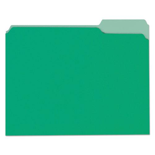 Deluxe Colored Top Tab File Folders, 1/3-Cut Tabs, Letter Size, Green/Light Green, 100/Box. Picture 1