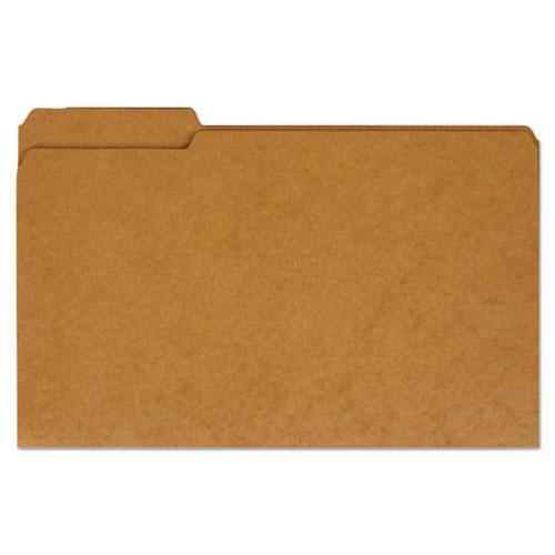 Reinforced Kraft Top Tab File Folders, 1/3-Cut Tabs, Legal Size, Kraft, 100/Box. Picture 1