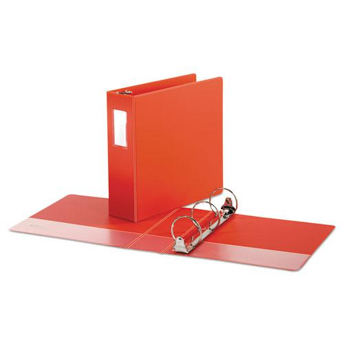"""Economy Non-View Round Ring Binder, 3 Rings, 3"""" Capacity, 11 x 8.5, Red. Picture 2"""